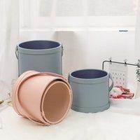 Prezent Wrap Dwa Rozmiary Round PU Pudełko Opakowania z uchwytem Bucket Chanved Flower Cosmetic Brush Storage Festival Party Supplies1