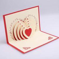 3D Valentinstag-Tag-Gruß-Karte Popup-Karte Valentinstag-Geschenk-Geständnis-Gruß-Karte 15 * 10cm Hochzeitszubehör IIF4302