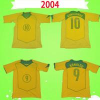 Brazil Jersey di calcio Brasil 2004 Retro 04 Camicia da calcio Camicia da calcio Uniforme vintage # 9 ronaldo # 10 ronaldinho # 8 kaka # 7 Adriano classico camiseta de futbol