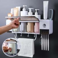 Conjunto de acessórios de banho Suporte de escova de dentes Acessórios de casa de banho Define itens domésticos Armazenamento de caixa de armazenamento exclusivo 1set dentífrico espremedor