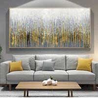 Peinture murale abstraite sur toile Art moderne Photos décoratives pour salon Wall Lienzos Cuadros Decorativos Golden Handmen