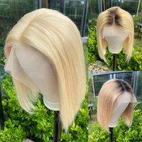 U Часть Короткие Боб Мода Дешевый парик Человеческие волосы Закрытие Блондинка Черный Цвет Оммре Реми Прямой Предварительно Сокрушенные Волосы для Женщин