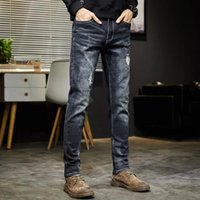 Erkek Kot Yihaifa Yırtık Erkekler Koyu Mavi Streç Slim Fit Yıkılan Kırık Delikler Denim Pantolon Rahat Biker Erkek Erkek Punk