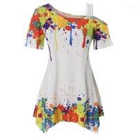 Frauen sommer mode plus größe kalte schulter splatter paint t-shirt soop neck kurze ärmel casual damen tops tees11