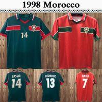 1998 Maroc M. Hadji Hadji Hadji Mens rétro Jerseys Équipe nationale Bassir Abrami NeqRouz Ouakili Accueil Chemise de football Vert Sleeve Sleeve Uniformes