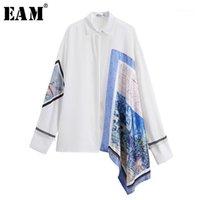 Женские блузки рубашки [EAM] 2021 осень осень зима отворота с длинным рукавом белый нерегулярный узор напечатанный большой размер рубашки женщины блузка модный прилив