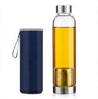 Garrafa de água de vidro 22z BPA livre resistente de alta temperatura de vidro esporte garrafa de água com filtro de chá frasco de infusor manga nylon zzc2810
