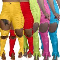 Damen Jeans zerrissene Hosen Slim Skinny Hole Denim Personalisierte Designer Weibliche lange Jeans Hohlhose Bleistift Hosen Streetwear H12103