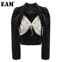 [EAM] Kadın Örgü Yay Velvet Eklenmiş Bluz Yeni Kare Yaka Puf Kol Gevşek Fit Gömlek Moda Gelgit İlkbahar Sonbahar 2020 1dC1511