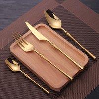 24 piezas de acero inoxidable vajilla de oro Cubiertos de oro cuchillo cuchara y tenedor Conjunto de vajillas Cubiertos de comida coreana Accesorios de cocina RRA3913
