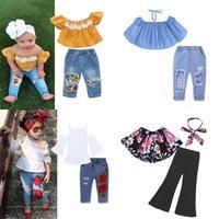 2020 Halloween Baby Kleidung Trainingsanzug für Kinder Kleidung Mädchen Sets Top + Rock Hole Jeans Kinder Kleidung Mädchen 1-6 Jahr J1204