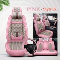FLAX Fashion Auto Covers Copertura del sedile auto per Sudan SUV Pelle durevole Pelle universale Cinque sedili Set completo di cuscino protettivo Tappetini rosa