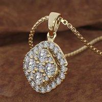 18k rosa ouro 2 quilates diamante pingente quadrado 18k chalcedony bizuteria mulheres quadrado colar de jóias pierscionki gemstone 1027
