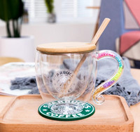New Starbucks Rainbow Crystal diamond Handle glass cup Doubl...