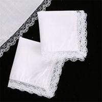 25 cm biała koronka cienka chusteczka 100% bawełniana ręcznik kobieta ślub prezent party dekoracji tkaniny serwetki DIY zwykły puste chusteczki DBC 219 G2