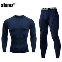 Aismz New Inverno Homens Térmica Underwear Sets Elastic Compression Set Long Johns para Homens Polartec Respirável Thermo Sports Ternits 20112