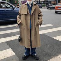 한국 스타일 트렌치 남성 패션 솔리드 컬러 캐주얼 긴 코트 남성 오버 코트 느슨한 가을 대형 윈드 브레이커 자켓 Mens M-5XL
