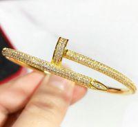 Hochzeit Armbänder Frauen 18 Karat Gold Überzogene Manschette Armband Voll Diamant Armband Schmuck Für Liebhaber Valentinstag Geschenk No Box