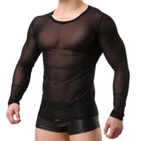 Undershirts Mense MeSh Underwear camisetas Masculino transparente Manga comprida T-Thirts Tops Slim Fitness Gym Bodybuilding Homewear