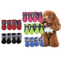 4 قطعة / المجموعة تنفس الكلب أحذية المضادة للانزلاق أحذية الحيوانات الأليفة باو حامي عاكس الكلب تيدي أحذية شبكة مريحة