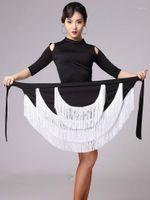 المرحلة ارتداء سيدة شرابات غير النظامية تنورة الرقص اللاتينية متعدد الألوان رومبا سامبا تانجو قاعة ممارسة زي أداء 1