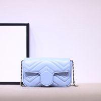 2020 Moda Sıcak Satış kadın Premium Kalite Hakiki Deri Zincir Omuz Çantası Crossbody Çanta Mini Örtüşen Harfler Ücretsiz Kargo