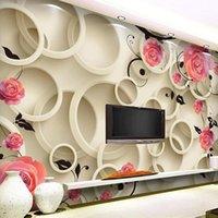 Drop Products Пользовательские Настенные Розовые Обои Цветок Современные 3D Стереоскопическое Розовое ТВ Фоновое фото Обои Розовые Дева Parede 3D1