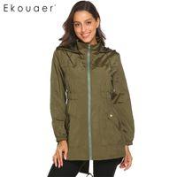 Ekouaer Frauen Casual Coats Leichte mit Kapuze Wasserdichte Outdoor Rain Jacket Damen Schnell trockener Windjacke 201126