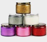 Leere DIY Aromatherapie Kerze Flasche Geprägte Muster Relief Muster Kerzenhalter Glas Jar Leer Cup Wachsbehälter mit Metalldeckel 120ml