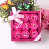 Savon rose boîte 9 pcs artificiels rose pétale cadeau boîte Valentin Jour de la Saint-Valentin Weding Engagamament Savon de savon Rose Boîte GGA2231