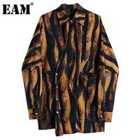 Kadın Bluz Gömlek [EAM] Kadınlar Büyük Boy Kahverengi Zebra Şerit Bluz Yaka Uzun Kollu Gevşek Fit Gömlek Moda Gelgit İlkbahar Sonbahar 2021 1D