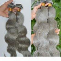 Paquetes de pelo gris plateado onda corporal Virgin Virgin Brasileño Hair trama Extensiones Gris Peinado humano Tejido