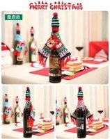 عيد الميلاد زجاجة النبيذ الديكور عيد الميلاد محبوك وشاح قبعة عيد الميلاد مجموعة زجاجة النبيذ الديكور ديكور المنزل الأصناف الأطفال هدايا