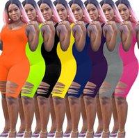 Kadın Tasarımcı Tulumlar Tulum Seksi Delik Pantolon Kolsuz Bodysuit Katı Renk Zarif Şort Pileli Bodysuits S-XXL