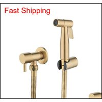Antique Brushed Gold Douche Kit Hand Held Bidet Sprayer Stainless Steel Toilet Bidet Faucet Shattaf Valve Jet Set qylrdh sports2010