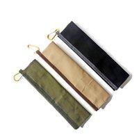 Conjunto de cubiertos portátiles Conjunto de cubiertos de bambú Cuchillo Tenedor cuchara Paja para viajes al aire libre Conjunto de vajillas con lienzo Bolsa de embalaje Niza Regalo