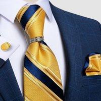 Lazos de arco 100% Seda Azul Amarillo Amarillo Pocket Square Square Square Fashion Business Party Necktie con accesorios de camisa de anillo DIBAN