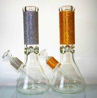 9mm di spessore bong narghilè 12 pollici di vetro frizzante di vetro di diamante Bongs DAB Rig in oro e argento becher becher per tubo di fumo bollable con tubi dell'acqua di acqua bolla accessori
