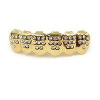 Grillz حجر الراين الشوايات لامعة مجموعة مطلية بالذهب الحقيقي مثلج من الأسنان الهيب هوب المجوهرات