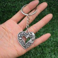 الحلي لطيف رومانسية الحصان القلب المفاتيح في قلادة جيري عيد الميلاد عيد الميلاد هدية عيد الحب