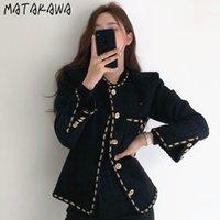 Matakawa Chic Corea Elegante retro scollo rotondo a strisce cappotto monopetto a strisce tasche a maniche lunghe Tweed Giacca corta Donne 201112
