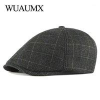 Berets Wuaumx Outono Inverno Beret Chapéus para Homens Visor Britânica Peaked Flat Hera Cap idosos Duckbill Hat Middle-envelhecido Casquette1