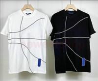 2021 Hot Europe Herren Geometrische Linien Drucken T-Shirt Mode Kurzarm Kooperation T-shirts Atmungsaktive Womens Cotton Designer T Shirts