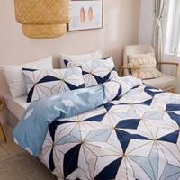 Conjuntos de cama Wostar conjunto de luxo king size home têxteis 100% microfibra geometria padrão de colcha de padrão e fronha decoração de quarto