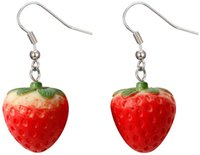 Fruit Strawberry Earrings Female Beautiful Girl Simulation Red Strawberry Dangle Earring for Women Jewelry Accessories DIY