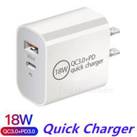 Dual Ports Chargeur USB 18W Chargeur rapide PD 3.0 Chargements rapide Accueil Chargeur mural Adaptateur Type C Chargement rapide pour iPhone 12 XS Samsung Xiaomi