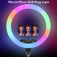 18 inç 45 cm RGB Selfie LED Halka Işık Tripod Telefon Kamera Tutucu Renkli Fotoğrafçılık Lamba Youtube Tiktok Video Ringlight