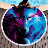 Toalha de praia redonda animal impresso tapeçaria tassel mulheres xale yoga tapete piquenique tapetes lobo leão pringting 17 projetos opcional 2021 novo