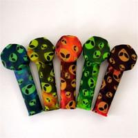Neue bunte Graffiti-Silikon-Rohr 87x24mm Silikon-Rauchrohr-Silikon-Rauch-Tabakrohr mit Edelstahl-Schüssel Raucher-Werkzeuge