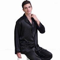 الرجال الحرير الحرير منامة مجموعة بيجامة بيجاما مجموعة PJS ملابس خاصة من النوم S، M، L، XL، 2XL، 3XL، 4xl__gifts1